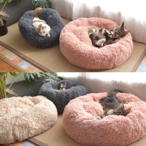 Мягкая плюшевая круглая кровать-кошка для домашних животных Мягкая плюшевая кровать-кровать для кошек фото