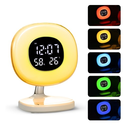 LED Wake up Light Alarm Clock Table Lamp