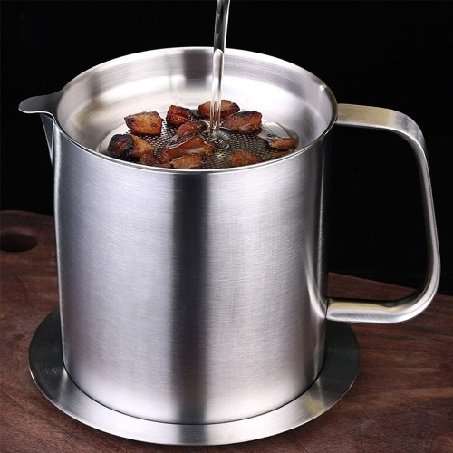 Oil Strainer Pot Bacon Grease Can 1.5L Stainless Steel Oil Keeper Storage Can Container