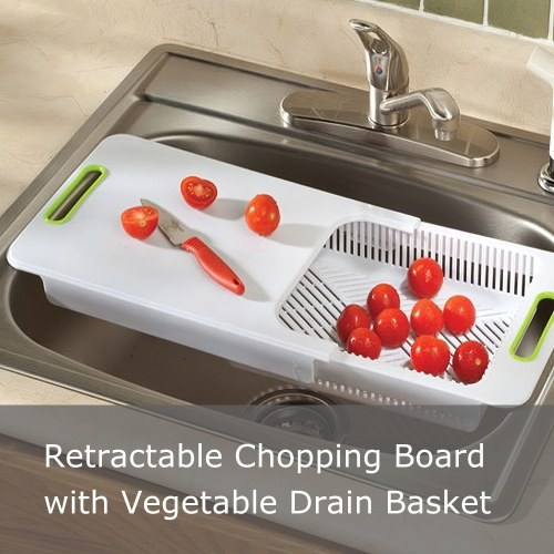 Multi-Function Retractable Cutting Chopping Board with Vegetable Drain Basket Over Sink for Vegetable Fruit Meat Home Kitchen