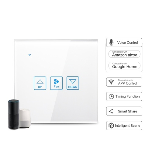Wi-Fi Smart Fan Сенсорный выключатель Стеклянная панель Голосовое управление Совместимо с Alexa Google Home APP Функция управления временем Smart Share Smart Switch Настенная розетка белого цвета (1 Gang)