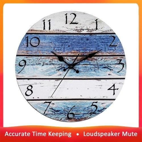 Horloge murale ronde en bois Maison Salon Chambre à coucher Silencieux Vintage Design Horloge murale Simple Horloge Décorative Non-Ticking