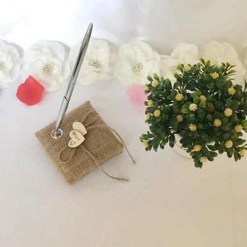 Pluma de firma de boda Vintage Bolígrafo de arpillera con soporte Corazones de madera Boda Compromiso nupcial Suministros de decoración