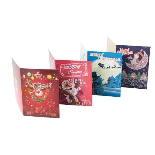 5D Diamante Pintura Tarjetas de Navidad Bordado de diamantes Cumpleaños Papel DIY Saludo Postales Dibujos animados Artesanía Niños Regalo
