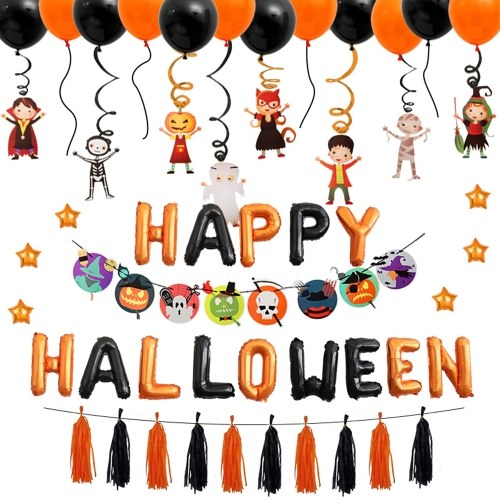 Hallo-ween Balloon Set Holiday Celebration Party Supplies Decoration for Kids with Cute Fun Animal Decor Latex Balloons