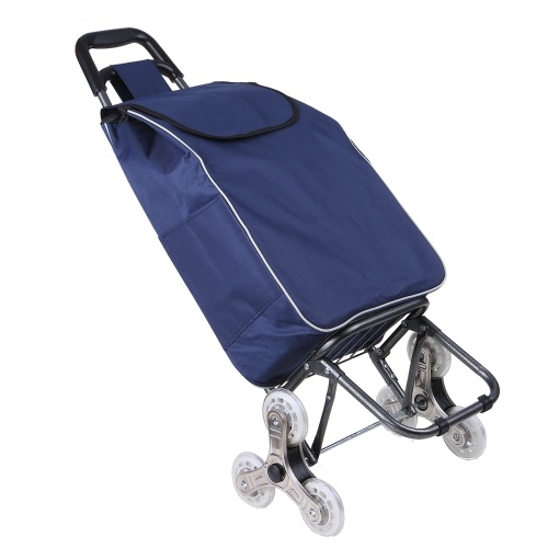 Shopping Trolley Cart Foldable Shopping Bag Cart Portable Folding Grocery Cart Stainless Steel Crystal Wheel Trolley