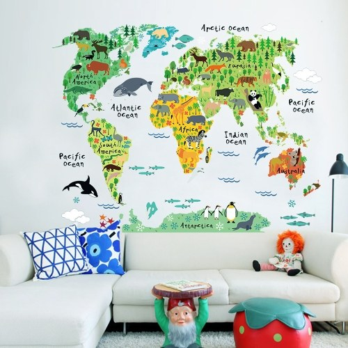 Large Kids Educational Animal Landmarks World Map Peel & Stick Wall Decals Stickers Home Decor Art for Nursery