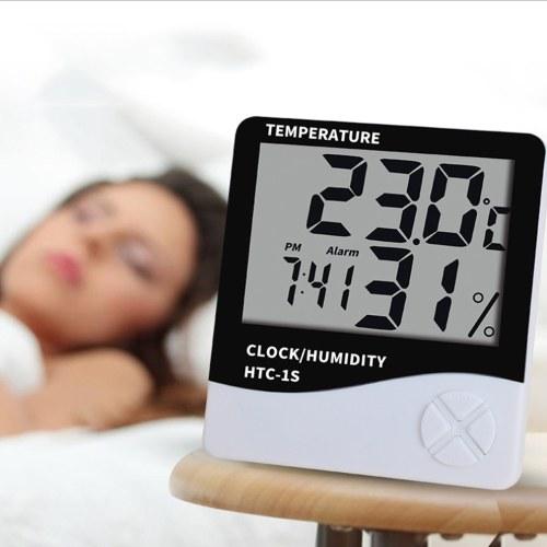 Medidor de humedad digital Termómetro Interior LCD Higrómetro Temperatura Despertador HTC-1