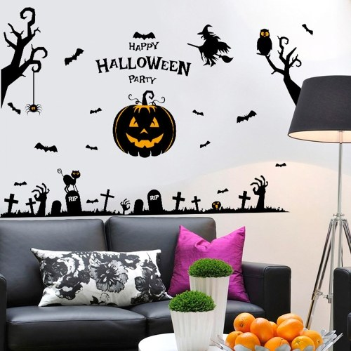 DIY Halloween Wall Stickers Witch Bats Spiders Pumpkin Lantern Cat Wall Decals Removable Window Stickers for Halloween Party Halloween Decorations