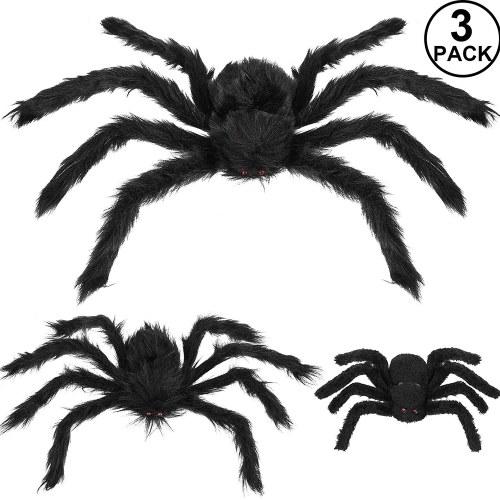Decoraciones de araña de Halloween, Aitey Halloween Scary Giant Spider Set con 3 arañas falsas grandes, telaraña, telarañas para la pared de la ventana y patio Decoración de Halloween al aire libre