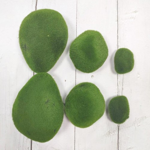 6PCS Artificial Moss Rocks Decorative Green Moss Balls
