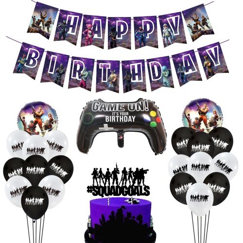 Party Supplies Set Happy Birthday Hanging Gaming Banner