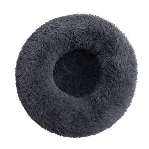 Bedding Plush Faux Fur Round Pet Dog Bed (Dark Grey,20'')
