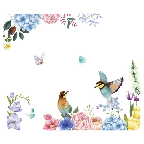 Adesivi murali fai-da-te Adesivi murali per camerette per ragazzi a forma di uccelli e fiori