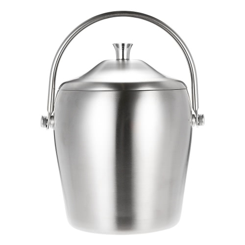 1L High-end Thicken Double-walled Ice Bucket Good Quality Stainless Steel Ice Bucket with Lid and Portable Handle