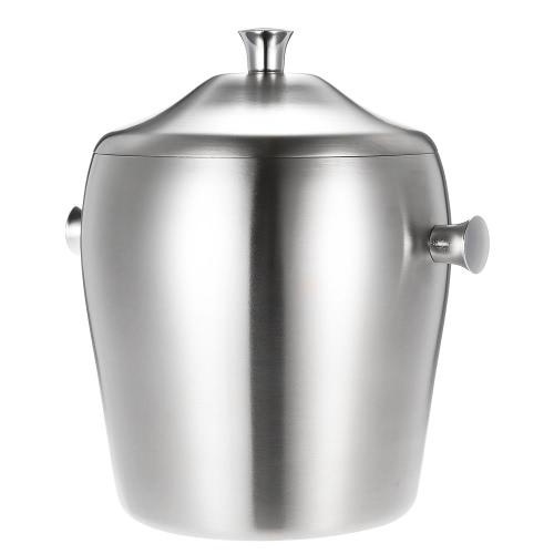 1L Luksusowe Dobra jakość Dwuściankowa Ice Bucket Praktyczne Stainless Steel Ice Bucket z pokrywką