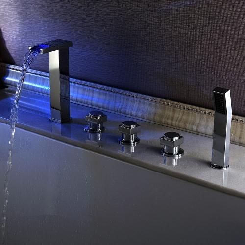 Baño moderno grifo surtidor válvula mano Set baño grifos bañera romana cromo acabado Color cascada bañera grifos de la ducha