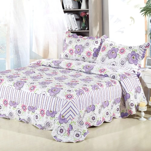 3Pcs Bedding Set 230 * 230 CM Checked Flower Printed Pattern Polyester Fiber Patchwork Quilt Comforter Pillow Cases Bedclothes Home Textiles