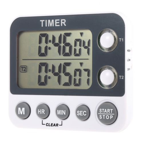 2 Channel LED Digital Kitchen Timer Industrial LaboratoryCooking Timer with Alarm Clock Chronograph Memory Time Function Max.99H/59M/59S