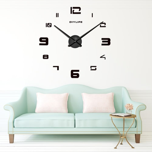 Modern 3D DIY Wall Clock Quartz Clocks Large Horloge Watch Acrylic Glass Mirror Effect for Home Living Room Decor Decoration