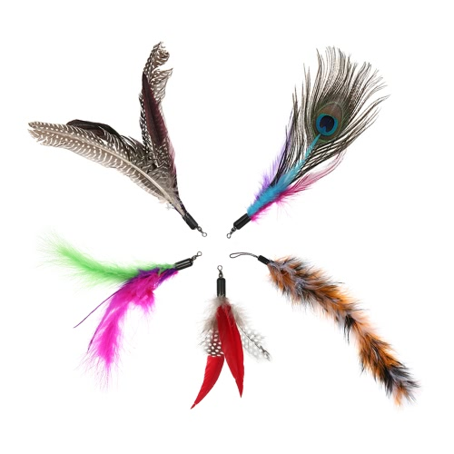 5PCS Luxury Dancer Interactive Retractable Feather Colorful Natural Feather Toy Pet Kitten Cat Teaser Cute Soft Furry Tail Replacement Feathers for Cat Rod Wand