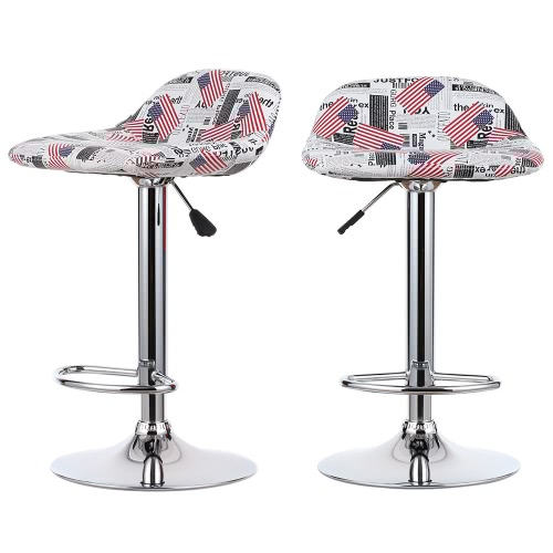 iKayaa 2PCS PU Leather Swivel Bar Stools