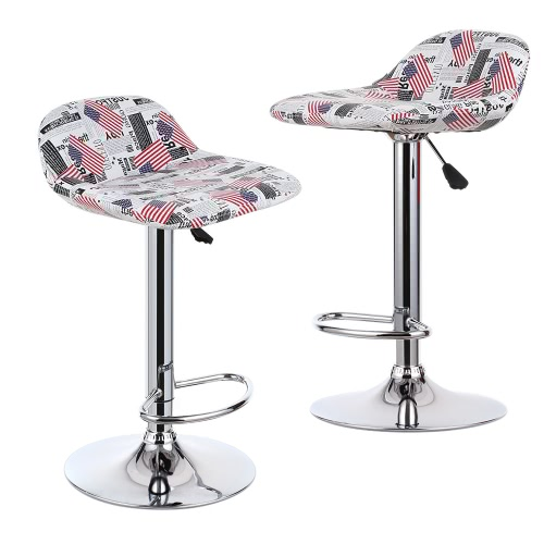 iKayaa 2PCS/Set of 2 Pneumatic PU Leather Swivel Bar Stools Chairs Height Adjustable Pub Counter Barstools Dinning Chair