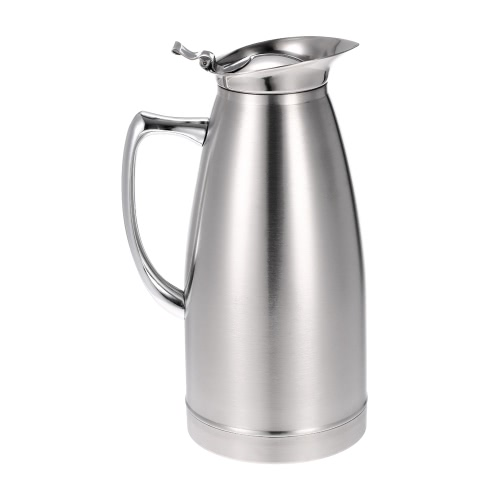 1L Large Capacity High Quality Stainless Steel Double Walled Vacuum Insulated Coffee Jug Coffee Pot Thermal Silvery Water Pitcher Thermo Jug