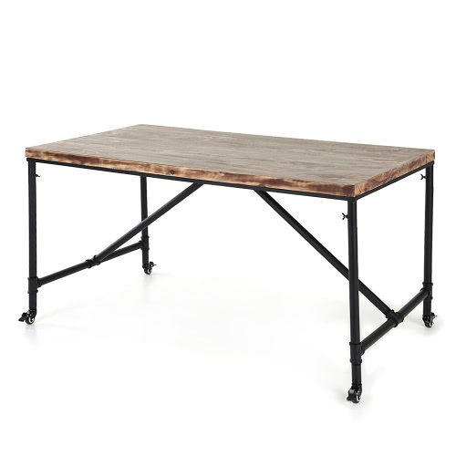 Table à manger en bois de pin  pour 6 personnes style industriel