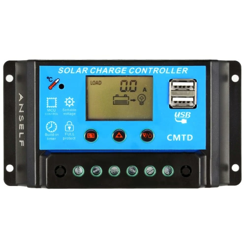 Anself 10A 12V/24V LCD Solar Charge Controller with Current Display Function Auto Regulator for Solar Panel Battery Lamp Overload Protection