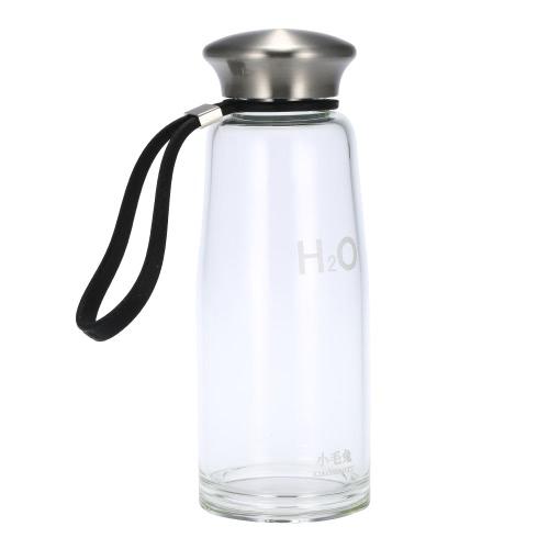 400ml Portable deporte agua Copa botella ambientales altos vidrios de Borosilicate cubierta de acero inoxidable