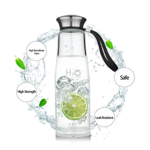 400ml tragbare Sport Wasser Cup Flasche Umwelt hohe Borosilikatglas Edelstahlabdeckung