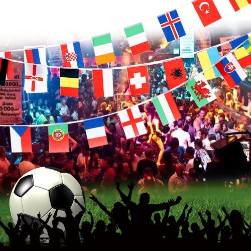 Anself 2016 European Cup 24 Länder Welt String Flagge hängende Fahne Banner für Euro 2016