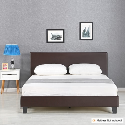 iKayaa Modern Double Sized Upholstered PU Platform Bed Frames With Wood Slats Wingback Bed Frame Sponge Padded Brown 200KG Capacity