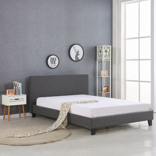 iKayaa Modern King Sized Upholstered Linen Platform Bed Frames With Wood Slats Wingback Bed Frame Sponge Padded Grey 200KG Capacity