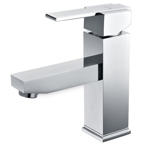 Homgeek Graceful Modern Style Brass High Quality Single Handle Lever Water Faucet Basin Mixer Tap for Washbasin Bathroom Kitchen Sink Chrome