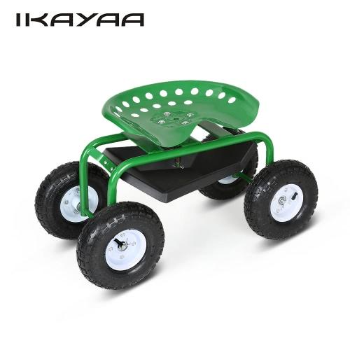 iKayaa Heavy-duty Steel Rolling Garden Cart Work Seat W/ Tool Tray 100KG Capacity Outdoor Garden Scooter W/ 360°Swivel for Planting