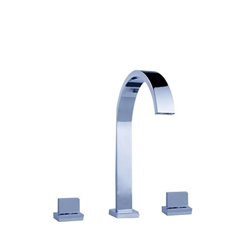 Homgeek haute qualité moderne à double poignées Waterfall Spout Bathroom Vanity Sink robinet en laiton chromé de lavabo Robinetterie Accueil Hôtel