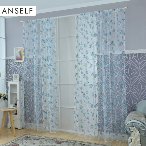 Anself 2PCS 100*200cm Elegant Voile Curtains Drape Offset Print Flower Pattern Tulle Sheer Curtain Door Window Screening for Bedroom Living Room Balcony Hotel Decoration