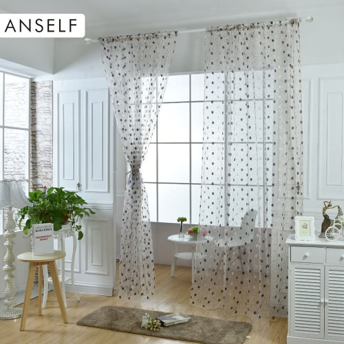 Anself 2PCS 100*200cm Elegant Voile Curtains Drape Embroidered Tulle Sheer Curtain Panel Door Window Screening for Bedroom Living Room Balcony Decoration