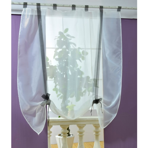 Anself 100*140cm Pastoral Voile Curtains Tab Top Tulle Sheer Curtain Roman Blinds for Bedroom Door Window Decoration