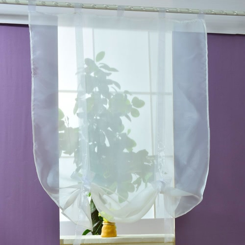 Anself 140*140cm Pastoral Voile Curtains Tab Top Tulle Sheer Curtain Roman Blinds for Bedroom Door Window Decoration