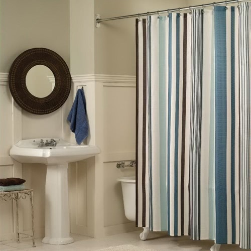 Anself High Quality Bathroom Waterproof Polyester Fabric Bath Curtains Classic Vertical Bars Stripe Design   180*180cm Thickened Mouldproof Shower Curtain with 12 C  Ring Hooks
