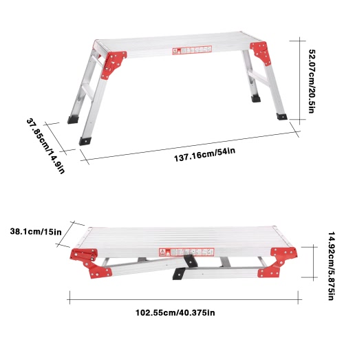 iKayaa Folding Aluminum Work Platform Hop Up Working Bench Step Ladder 225LB Capacity