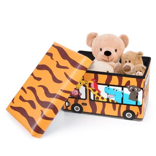 IKayaa Симпатичные Складная Дети Дети хранения Табурет Сиденье игрушки Книги хранения Box Бункеры Организатор фото