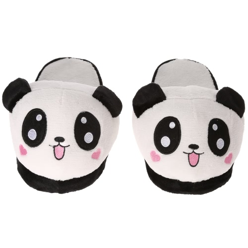 Anself Lovely Cute Panda Women Female Winter Warm Slippers Soft Plush Anti-skid Indoor Home Cotton Slipper Shoes 25.5cm/10in