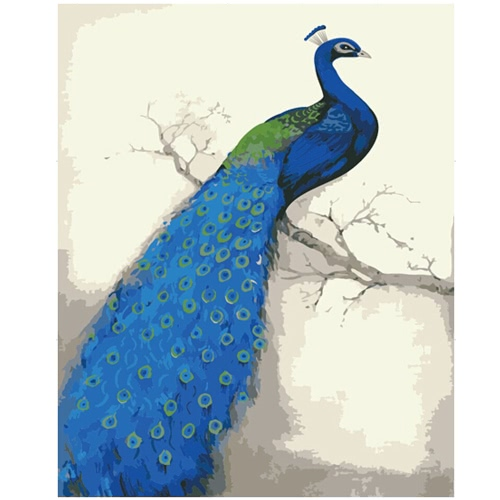 DIY Unframed Oil Painting by Numbers Kit Hand Painted Picture Handwork Acrylic Paint Blue Peacock Pattern Decoration for Home Living Room Bedroom Office Art Paintings 16*20