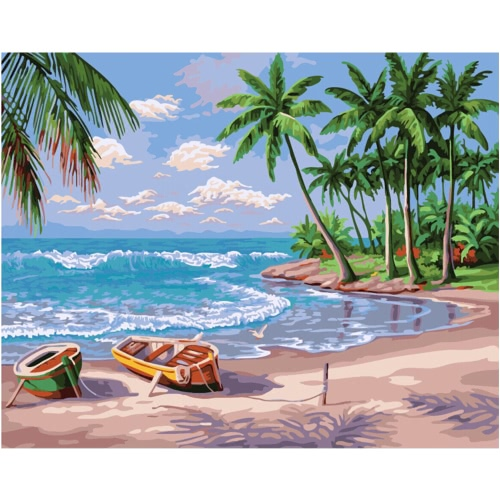 DIY Unframed Oil Painting by Numbers Kit Hand Painted Picture Handwork Acrylic Paint Sunny/Sunset Beach Pattern Decoration for Home Living Room Bedroom Office Art Paintings 16*20