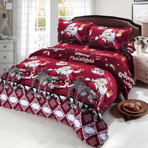 4pcs Cotton Material 3D Printed Cartoon Merry Christmas Gift Santa Claus Comfort Deep Pocket Bedding Set Bedclothes Duvet Quilt Cover Bed Sheet 2 Pillowcases