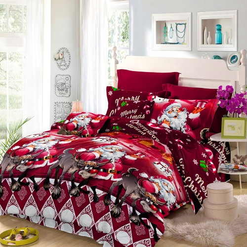 4pcs Cotton Material Cartoon  Santa Claus Bedding Set Deep Pocket Bedclothes